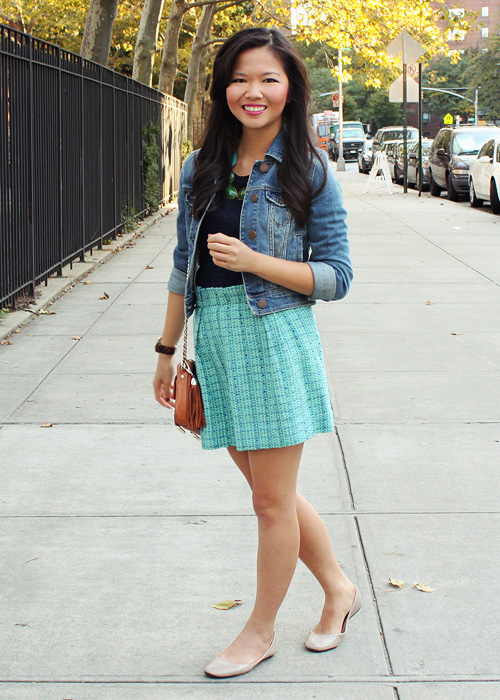 Jenny in Jacquard; NYC fashion blogger; style blog; outfit photos; American Eagle denim jacket; J.Crew navy lace shirt; J.Crew turquoise mint tweed skirt; David Aubrey blue and green necklace; Michael Kors tortoise bf watch; Rebecca Minkoff BF crossbody bag; Steve Madden blush Heaven flats