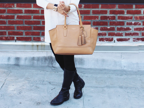 Jenny in Jacquard; NYC fashion blogger; style blog; outfit photos; fall outfit; Zara cream long sleeve tunic; Uniqlo HeatTech black leggings; Spike the Punch Madelyn black chain quartz stone necklace; Joe Fresh cuff; Coach Candace carryall tote bag in camel; Steve Madden black riding boots