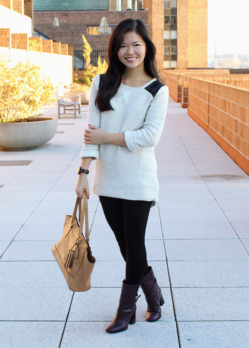 Jenny in Jacquard; NYC fashion blogger; style blog; outfit photos; how to wear oversized sweaters; Zara TRF leather shoulder panel gray sweater; Uniqlo HeatTech black leggings; Diane von Furstenberg DVF Bordeaux Yardley boots; Coach Candace carryall tote in camel; Michael Kors boyfriend tortoise watch