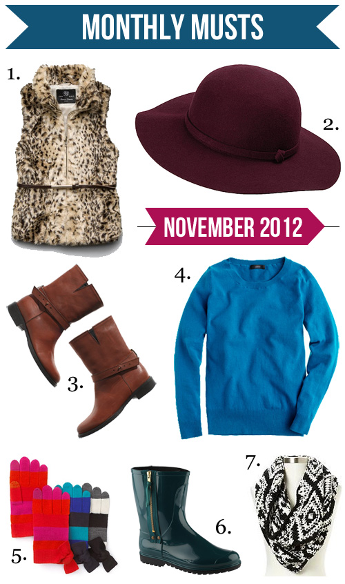 Jenny in Jacquard; NYC fashion blogger; style blog; shopping round up; November 2012; Zara Girl leopard faux fur vest; Uniqlo Capeline hat; Madewell The Biker short flat boot in brown english saddle; J.Crew Jackie pullover in warm mineral turquoise; Kate Spade striped bow tech iPhone compatible gloves; Aldo Donia teal rainboots; Gap fair isle cowl neck chunky scarf