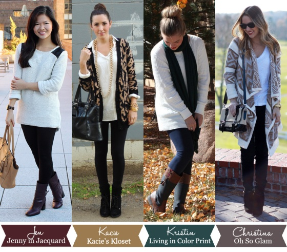 Jenny in Jacquard; NYC fashion blogger; style blog; outfit photos; how to wear oversized sweaters; Kacie of Kacie's Kloset; Kristin Clark of Living in Color Print; Christina DeFilippo of Oh So Glam;