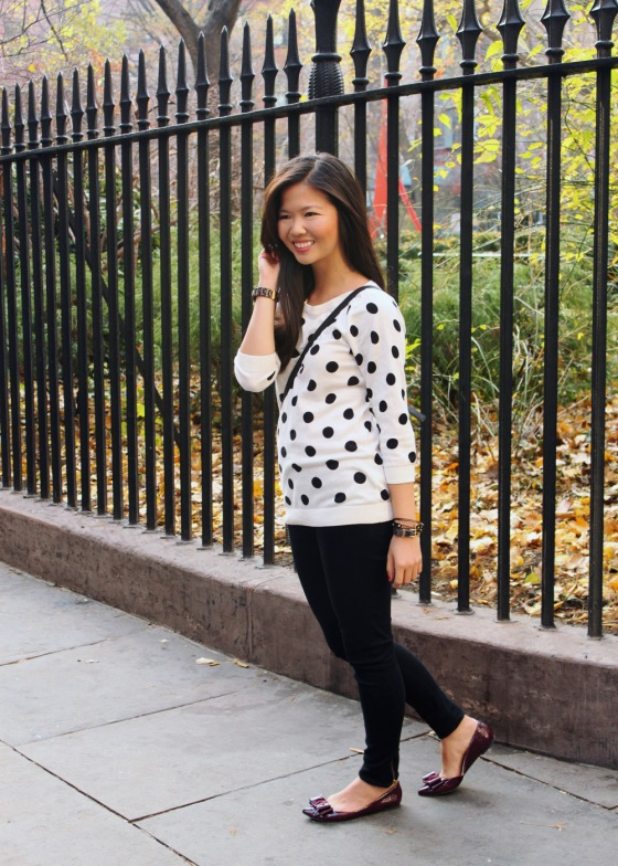 Jenny in Jacquard; NYC fashion blogger; style blog; outfit photos; Old Navy black and white polka dot sweater; Zara black skinny jeggings; Kate Spade black and white striped Scout crossbody bag; KTownsend Etsy black and gold bangles; ShoeMint Hilary bow flat in oxblood; Michael Kors tortoise gold boyfriend watch