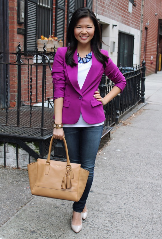 Jenny in Jacquard; NYC fashion blogger; style blog; outfit photo; Forever 21 purple blazer; H&M white v-neck t-shirt; J Brand 811 skinny jeans; Coach Candace carryall tote in camel; Crown and Glitter blue statement necklace; Juicy Couture gold pave pyramid stud cuff; Pour la Victoire Mai wedge