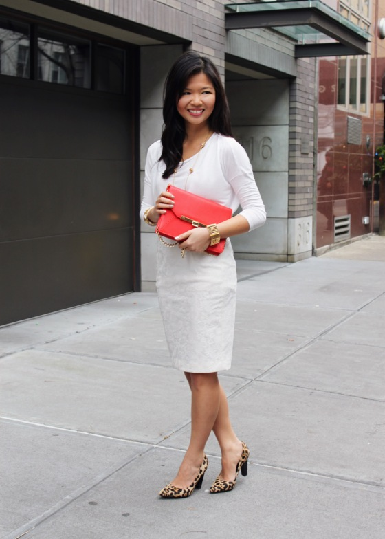 Jenny in Jacquard; NYC fashion blogger; style blog; outfit photo; how to wear white in the winter; Zara cream relaxed long sleeve tee; Zara cream lace pencil skirt; C.Wonder red and cold clutch; Kate Spade gold orb necklace; Diane von Furstenberg DVF April pump high heel in leopard calf hair