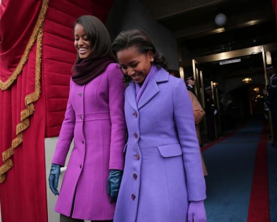 Jenny in Jacquard; NYC fashion blogger; style blog; style inspiration, Sasha Obama in purple Kate Spade coat; Malia Obama in J.Crew Double Cloth Lady Coast; Inauguration 2013 style