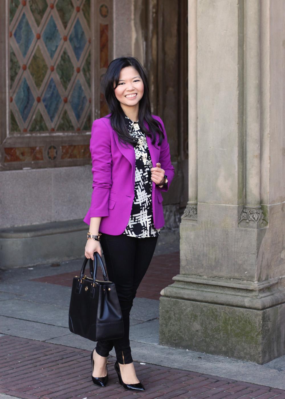 what to wear with purple blazer
