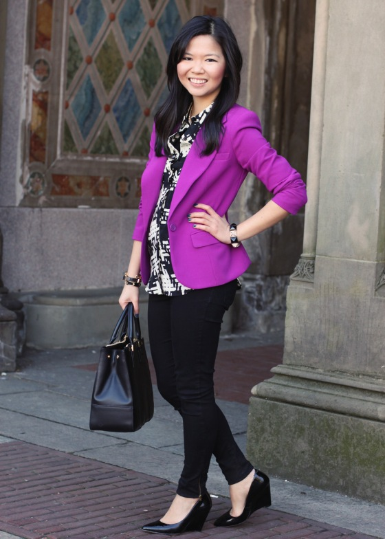 Jenny in Jacquard; NYC fashion blogger; style blog; outfit photo; Forever 21 purple blazer; Rachel by Rachel Roy houndstooth print blouse; Zara black skinny trouser jeans with zip; Juicy Couture black gold pave pyramid stretch bracelet; C. Wonder skinny calf hair bangle; Tory Burch Robinson black leather tote bag; Pour la Victoire Mai wedge in black patent