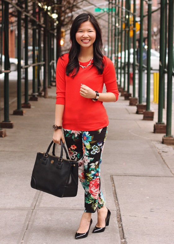 Jenny in Jacquard; NYC fashion blogger; style blog; outfit photo; J.Crew Factory Charley orange sweater; H&M floral pants; Sequin pave branch necklace; Tory Burch Robinson black leather tote; Michael Kors tortoise gold watch; Juicy Couture pave pyramid stretch bracelet; Pour la Victoire Mai patent wedge pump